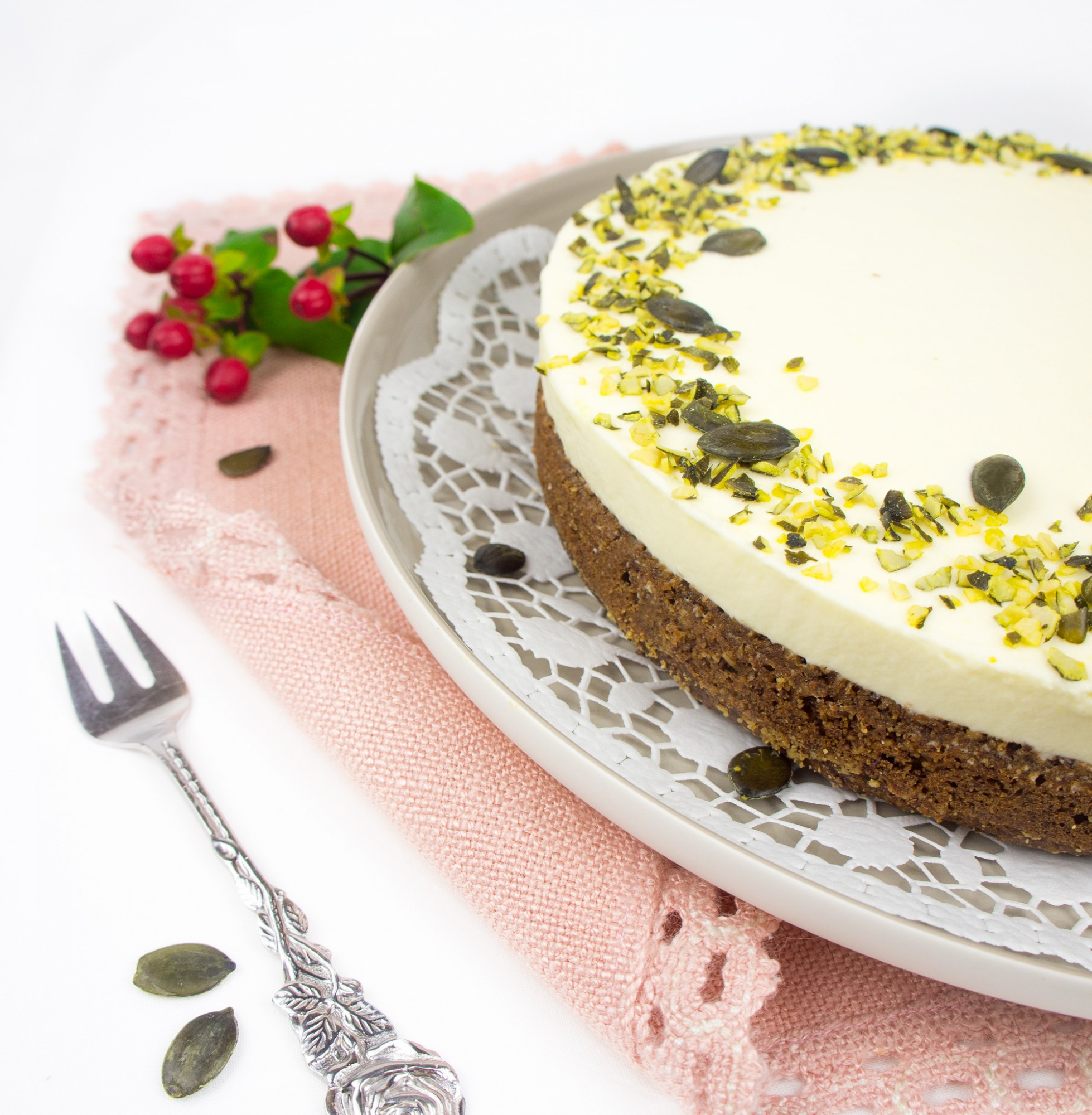 Kürbis Torte mit weißer Schokoladencreme