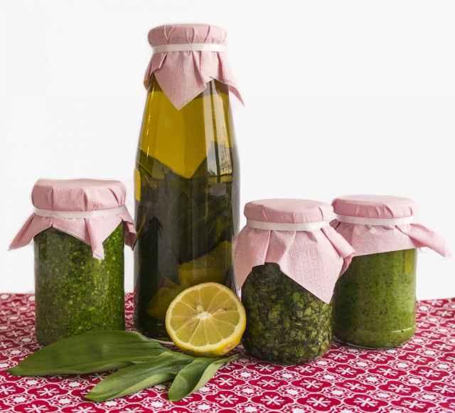 Bärlauchpesto, Bärlauch-Zitronen-Öl, eingelegter Bärlauch